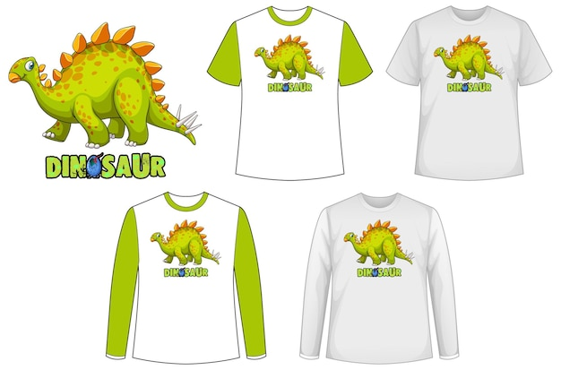 Set van verschillende soorten shirt in dinosaurusthema met dinosauruslogo