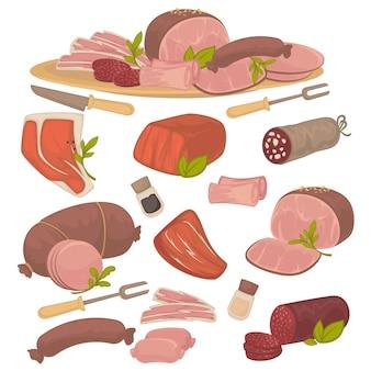 Set van verschillende soorten vlees: spek, varkensvlees, rundvlees, worst, biefstuk, salami en worst.