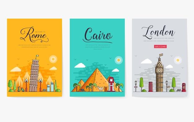 Set van verschillende steden voor reisbestemmingen. sjabloon voor spandoek van bezienswaardigheden van flyer, tijdschriften, posters, boekomslag, banners.