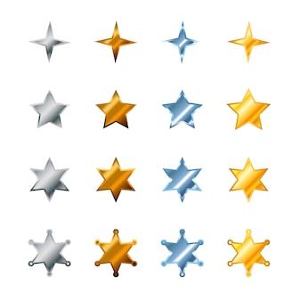 Set van verschillende sterren gemaakt van staal, brons, zilver en goud