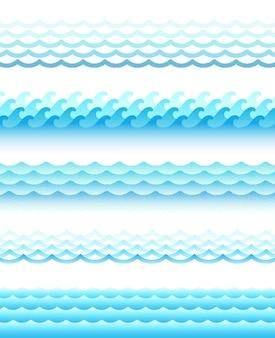 Set van verschillende stijl watergolven