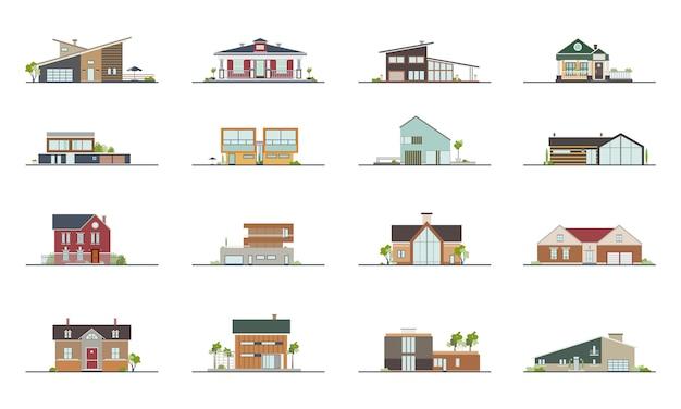 Set van verschillende stijlen woonhuizen. kleurrijke platte vectorillustratie. collectie gebouw villa, huisje, herenhuis.