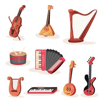 Set van verschillende strijkers, keyboards en percussie-muziekinstrumenten. element voor reclamebanner of poster of muziekwinkel
