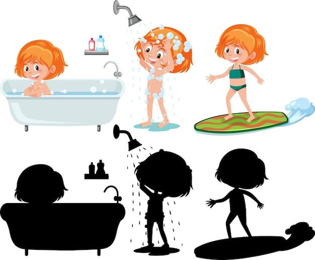 Set van verschillende stripfiguren voor kinderen nemen een douche met silhouet