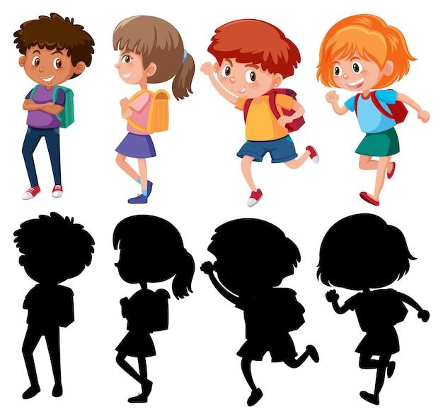 Set van verschillende stripfiguren voor kinderen