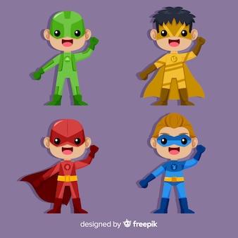 Set van verschillende superheld kinderen