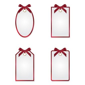 Set van verschillende tags met zijden strikken