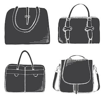 Set van verschillende tassen, heren, dames en unisex. zakken geïsoleerd op een witte achtergrond. vectorillustratie in schetsstijl.
