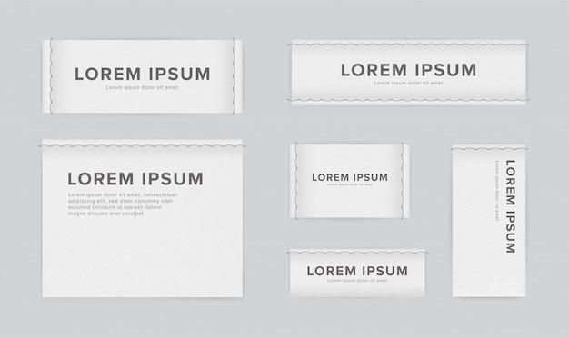 Set van verschillende textiel-tags. verzameling van smalle, brede, grote, kleine, verticale, horizontale labels voor kleding. witte sticker met plaats voor tekst.