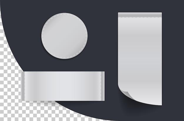 Set van verschillende textiellabels. collectie labels voor kleding. sticker horizontale, verticale en ronde vormen.