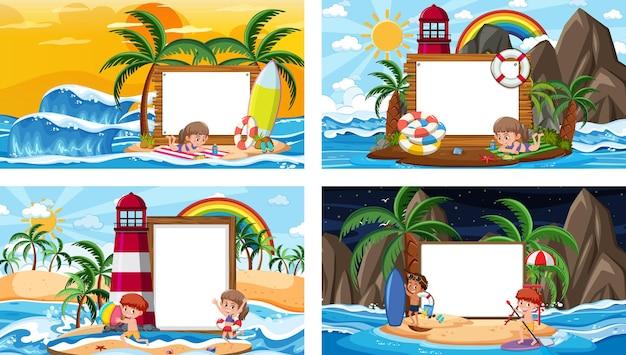 Set van verschillende tropische strandtaferelen met lege banner