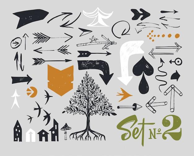 Set van verschillende typografische pijlen