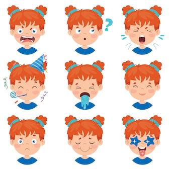 Set van verschillende uitdrukkingen van kinderen