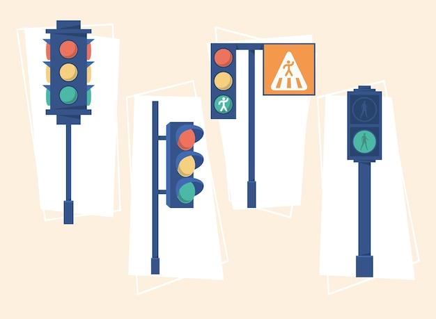 Set van verschillende verkeerslichten