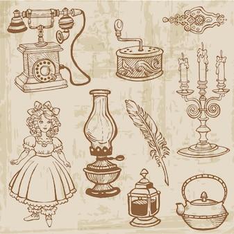 Set van verschillende vintage doodle elementen hand getrokken