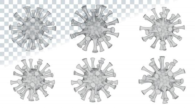 Set van verschillende virale cellen. nieuw coronavirus (2019-ncov). draadframe laag poly mesh