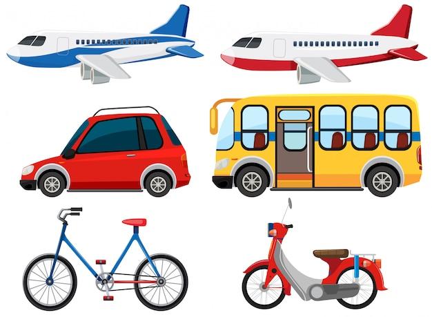 Set van verschillende voertuigen