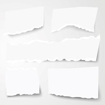 Set van verschillende vormen van gescheurd papier. vectorillustratie.