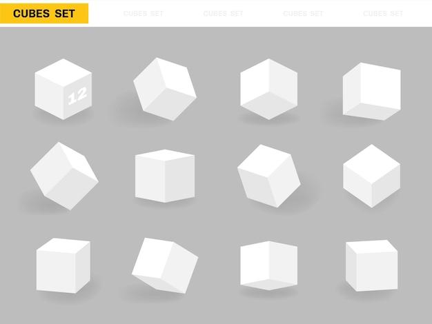 Set van verschillende vormkubussen. isometrische kubus geïsoleerd