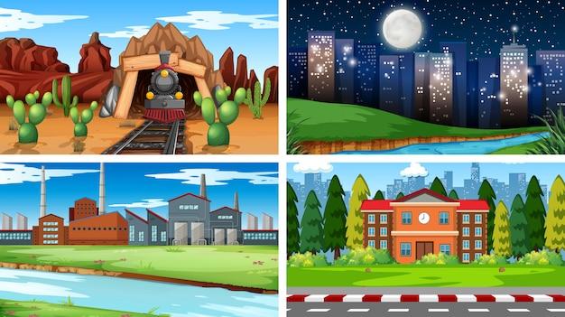Set van verschillende wallpaper scènes achtergrond
