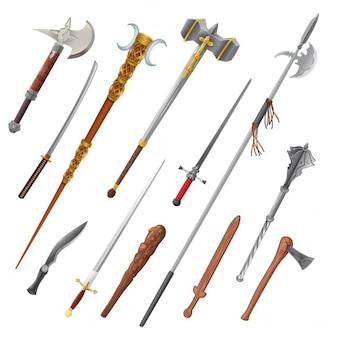 Set van verschillende wapens vector geïsoleerde objecten