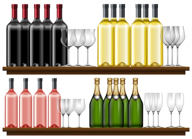 Set van verschillende wijn