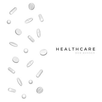 Set van verschillende witte realistische pillen voor poster- of bannerontwerp