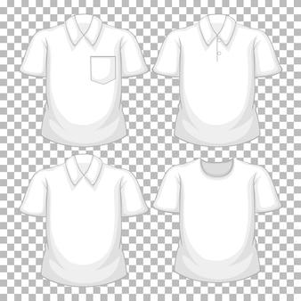 Set van verschillende witte shirts geïsoleerd op transparante achtergrond