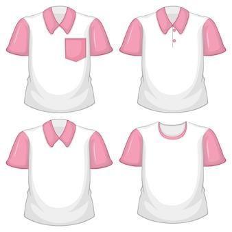 Set van verschillende witte shirts met roze korte mouwen geïsoleerd