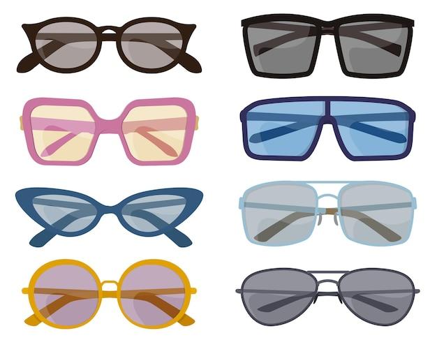 Set van verschillende zonnebrillen. mannelijke en vrouwelijke accessoires in cartoon-stijl.