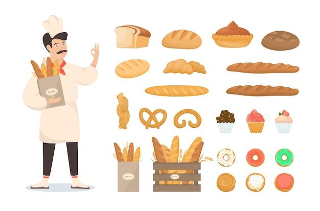 Set van verse bakkerijproducten. brood en koekjes