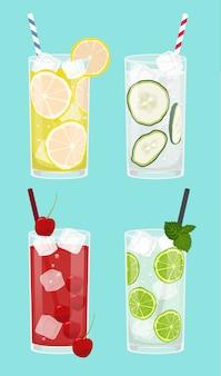 Set van verse dranken, limonade, komkommer, kers, citroen met water