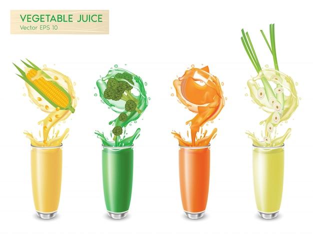 Set van verse geïsoleerde groentesappen bewegingsplons met druppels en bellen 3d-realistisch