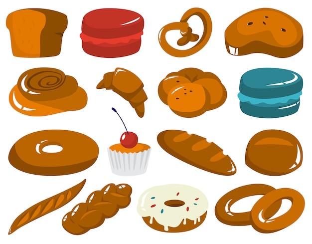 Set van verse smakelijke bakkerijproducten.