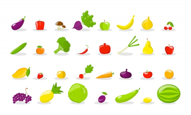 Set van verse smakelijke groenten en fruit.