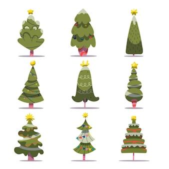 Set van versierde kerstbomen