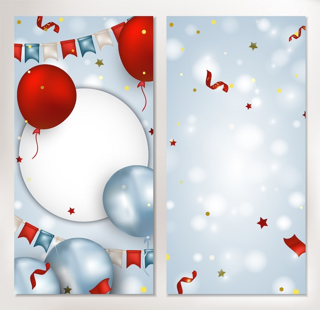 Set van verticale banner met rode, blauwe ballonnen, vlag slinger, confetti, sparkles, lichten op de blauwe achtergrond. sjabloon voor sociale netwerken, uitnodigingen, promoties, verkoop. .