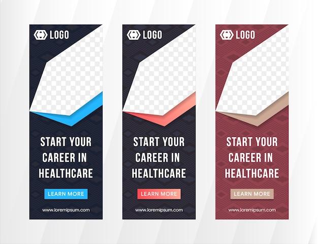 Set van verticale banner ontwerpsjabloon gebruikt diagonale vorm als ruimte voor foto- en transparantielijn en vierkant patroon.