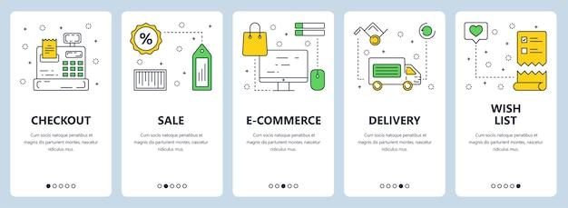 Set van verticale banners met afrekenen, verkoop, e-commerce, levering, wenslijst concept websitesjablonen. moderne dunne lijn vlakke stijl.