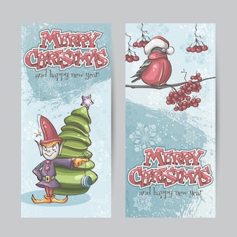 Set van verticale banners voor kerstmis en het nieuwe jaar