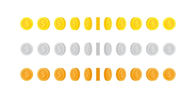 Set van verticale rotatie gouden munten voor animatie