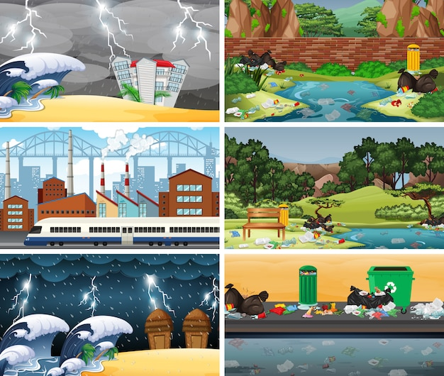 Set van vervuilde scènes of achtergrond