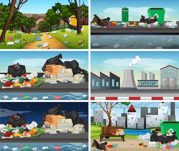 Set van vervuilde scènes