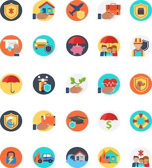 Set van verzekering pictogram met veel vorm