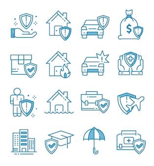 Set van verzekering pictogrammen met kaderstijl