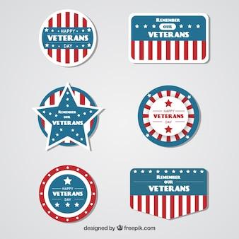 Set van veteranen dag decoratieve badges