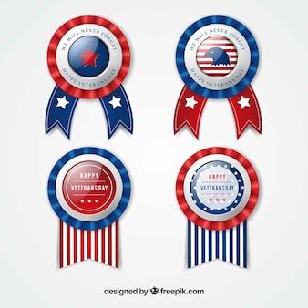 Set van veteranen dag insignes