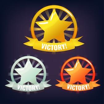 Set van victory stars gemaakt van goud, zilver en brons