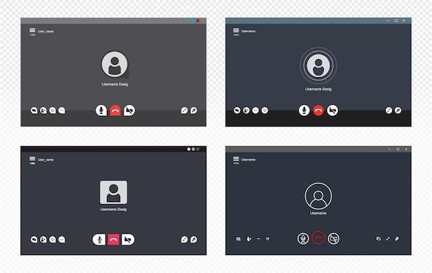 Set van videochat-gebruikersinterface.