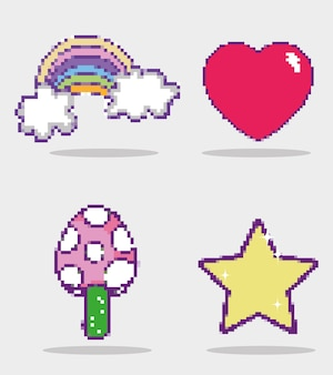 Set van videogames cartoons pictogrammen
